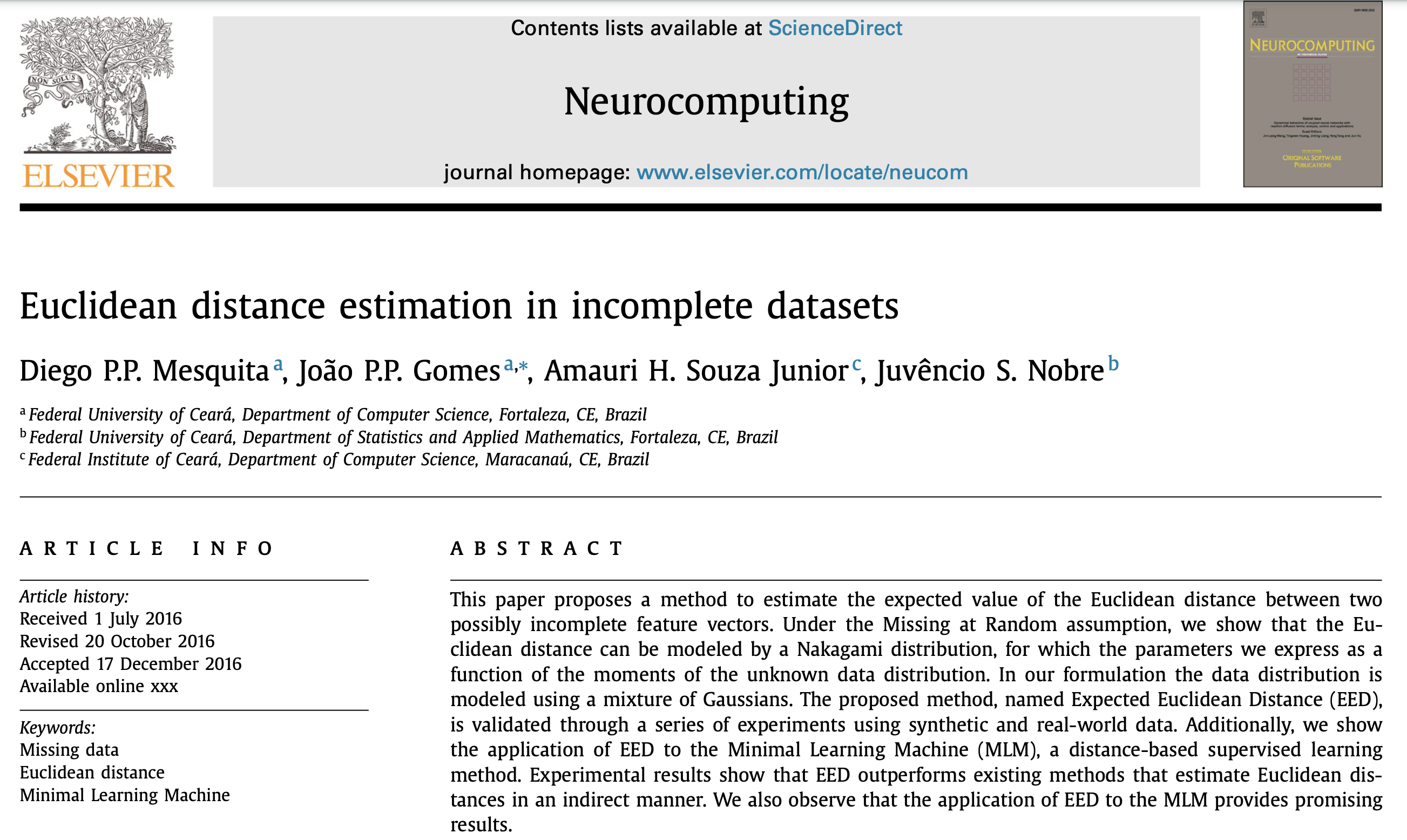 Euclidean distance estimation in incomplete datasets